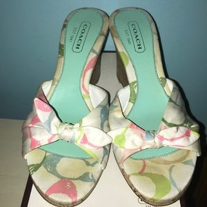 Coach Wedges white with multicolor C